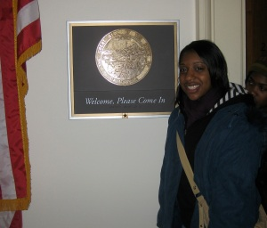 Me in front of Congressman Miller's office